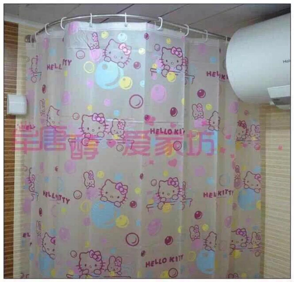 18M18M Cartoon Hello Kitty Waterproof Shower Curtain With Hooks For Girls Bathroom Bath Bathing Sheer Home Decoration Chocolate Party Favors