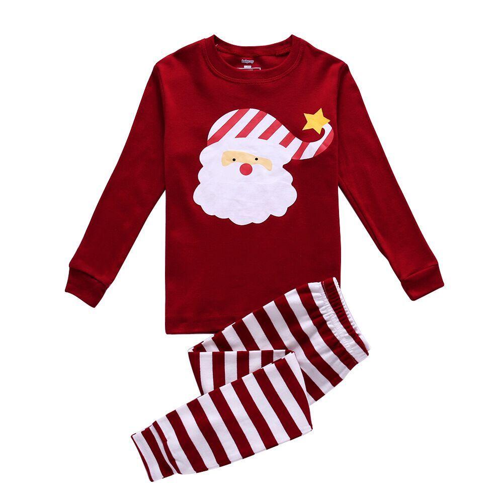 31b7d8943e2b 2018 New Christmas Toddler Kids Boy Girl Pajama Set Long Sleeve Deer ...