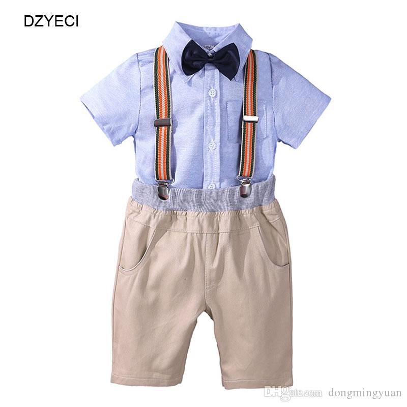 3b7be0a6950f9 Summer Gentleman Bow Tie Set For Baby Boy Clothes Fashion Kid Blouse Shirts  Top+Sling Shorts Pant 4PCS Suit Children Outfit Tracksuit