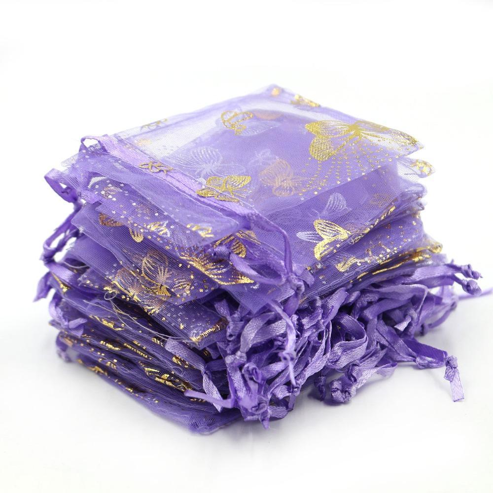 9x12cm púrpura de la mariposa bolsas de organza / de tul de embalaje de regalo bolsas de embalaje de la joyería bolsas favor de la boda Caramelo Bolsas