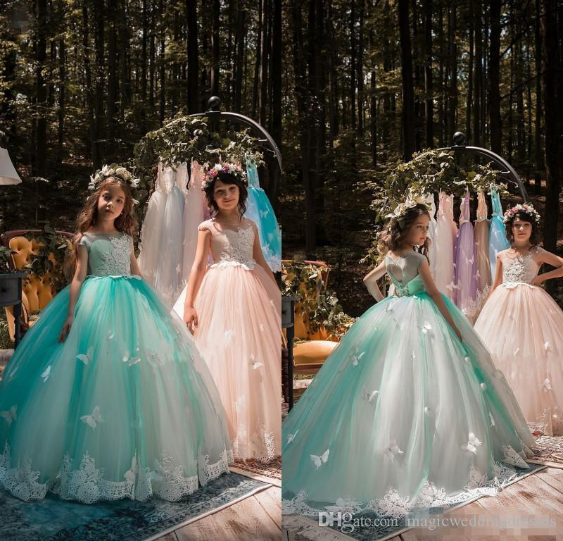 2018 New Design Mint Green Girls Pageant Dresses Ball Gown Lace ...
