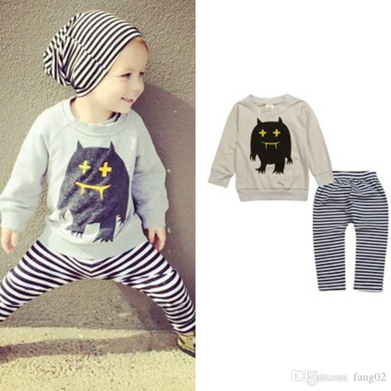 b62896b86af0 New Autumn Baby Girls Boys Monster Clothes Top + Pants Sport Suits ...