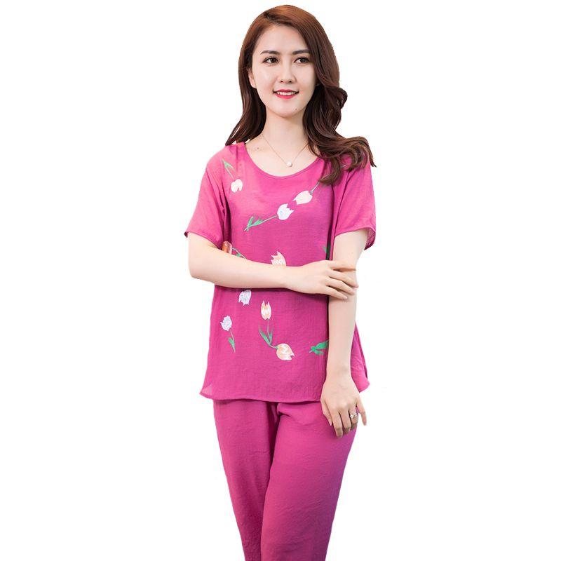 00c344188c 2019 Women Cotton Linen Pajamas Pyjama Set 2018 New Short Sleeve ...