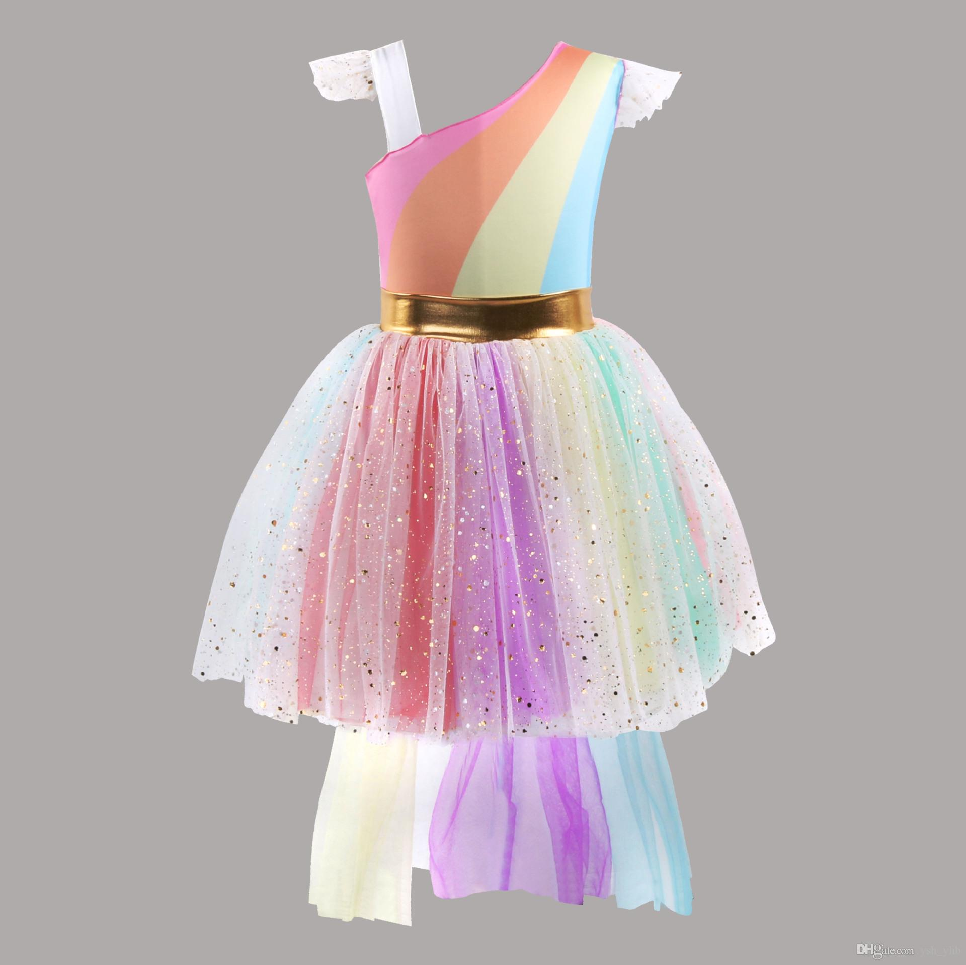 8b7fd7e61d0 2019 Girls Colorful Sequined Unicorn Dress Slanting Rainbow Lace Tutu Tulle  Skirt Girls Summer Clothes Dresses For Baby Birthday Or Any Occasion From  ...