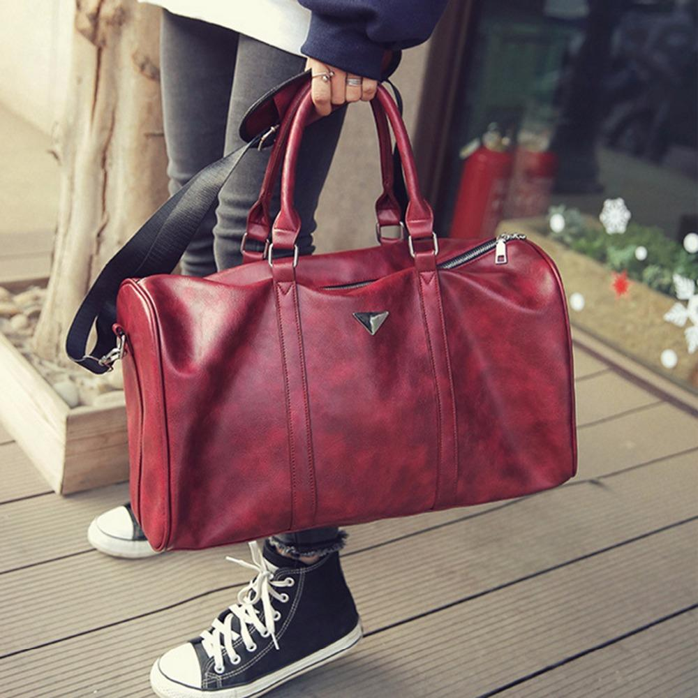 7bcd1cd56035 2019 Large Sports Gym Bag For Women Men Red Black PU Leather Bag Tote Duffle  Travel Shopping Large Space Waterproof From Dragonfruit