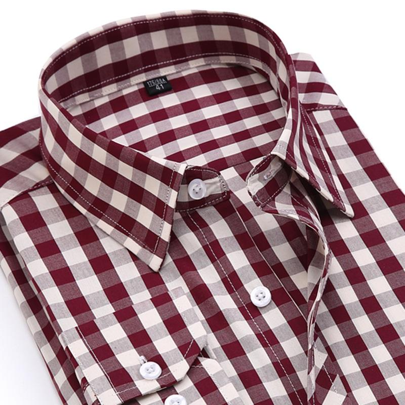 4b0a0edb8acf 2019 Spring&Autumn Men Cotton Slim Fit Plaid Dress Shirt Male Long Sleeve  Business Shirts Casual Camisa Masculina Youth Style From Jerkin, $27.74 |  DHgate.