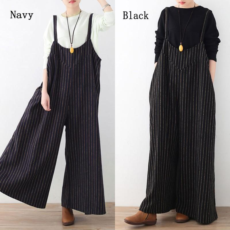 27f611be884 2019 Celmia Women Rompers Jumpsuit 2018 Spring AutumnSleeveless Striped  Cotton Playsuits Trousers Long Pant Overalls Plus Size S 3XL From Dayup