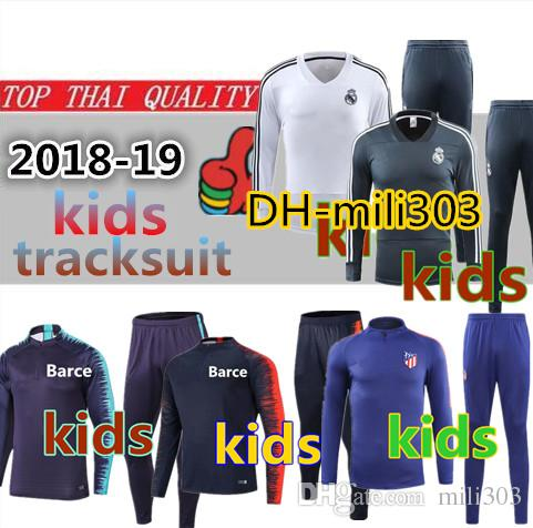 f92f48b9c8d 2019 Top Quality MESSI SUAREZ Kids Training Suit 18 19 Real Madrid Kids  Jacket Children Tracksuit GRIEZMANN Boys Football Kit Chandal Tracksuit  From Mili303 ...