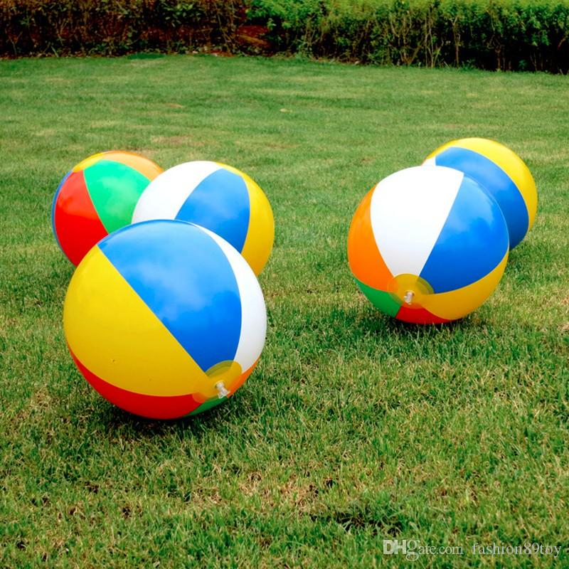 23CM Kids Rainbow Colorful Inflatable Ball Balloons Swimming Pool Play Party Water Game Balloons Beach Ball Outdoor Sport Ball Running funny