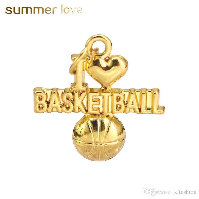 b189f7888212 Compre Nueva Moda Única I Love Basketball Colgantes Para Collar Pulseras  Astilla Especial Oro Joyería Deportiva Encanto Para Hacer Bricolaje 2018 A   0.33 ...