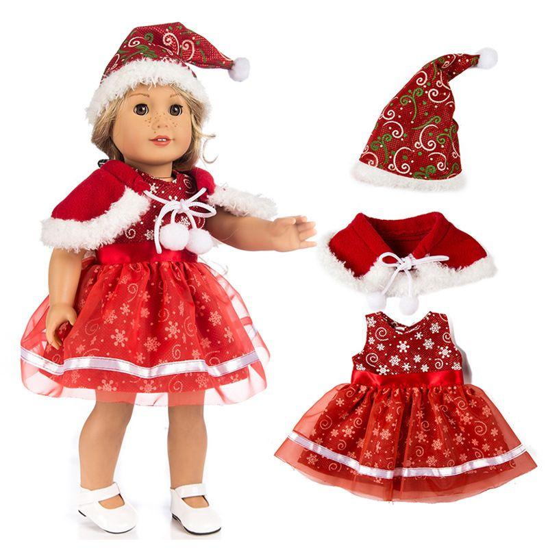 cb47fa6652dad Acheter 18 Pouces Américain Fille Poupée Vêtements De Noël Robe Pour ...