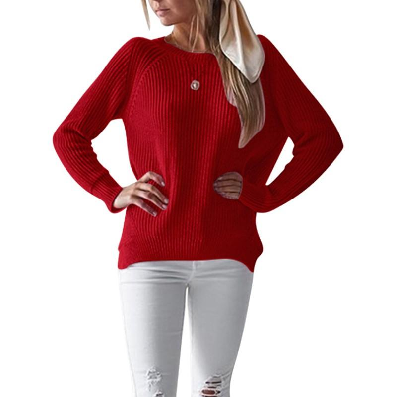 Compre 2018 Nueva Moda Otoño Invierno Suéter Mujer Tallas Grandes Casual  Manga Larga O Cuello Suéter Rojo Dobladillo Suelta Oficina Suéter Señora A   24.77 ... 7e7a88143a20