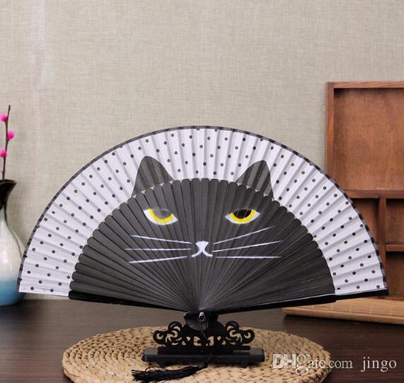 Бамбук складной Шелковый вентилятор мультфильм кошка ремесло окрашенные старинные японские ручной вентилятор летний подарок для мужчин женщин nt