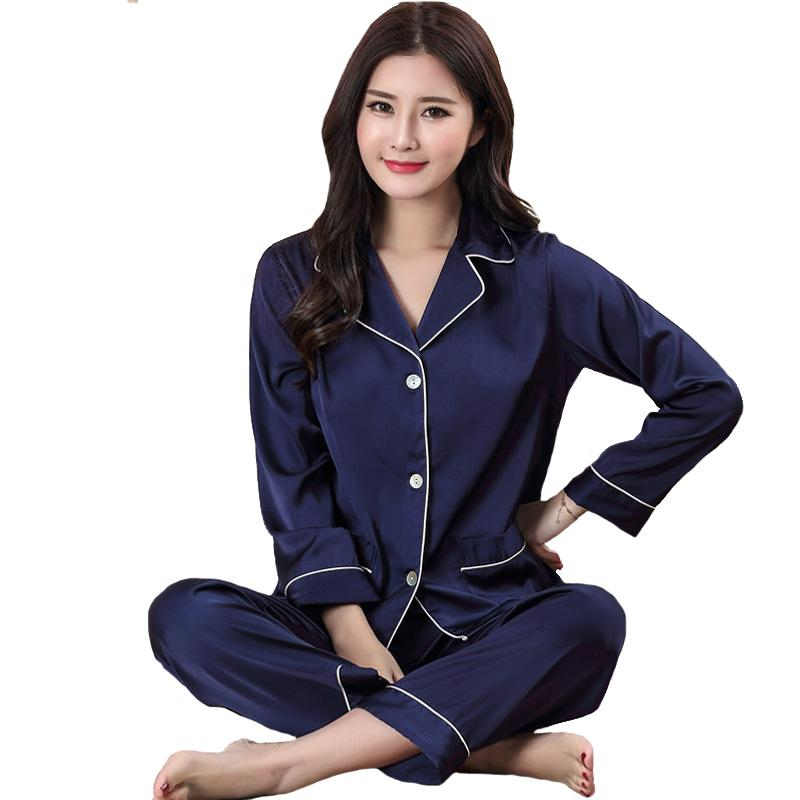 f8e9a78d3b Women Rayon Satin Pajamas Set Long Sleeve Sleepwear 2018 Spring ...