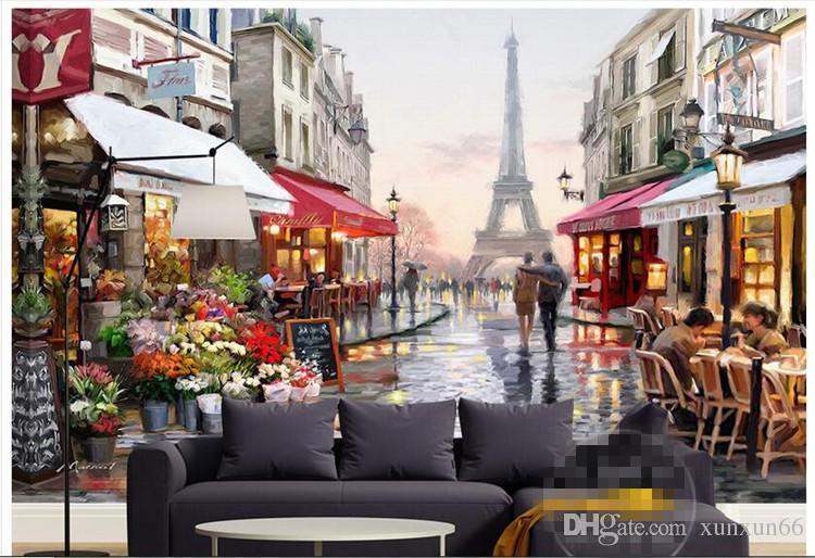 3 차원 벽지 맞춤 사진 부직포 벽화 벽 스티커 사진 3 d 에펠 탑 벽화 벽지 3 d
