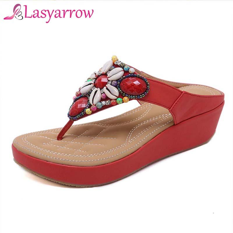 26ba7185f2c2 Wholesale Ethnic Bohemia Sandals Women String Beads Clip Toe Beach Flip  Flops Girls Shoes Wedge Med Heels Slippers Black Red Green Shoes Shoe Shop  From ...