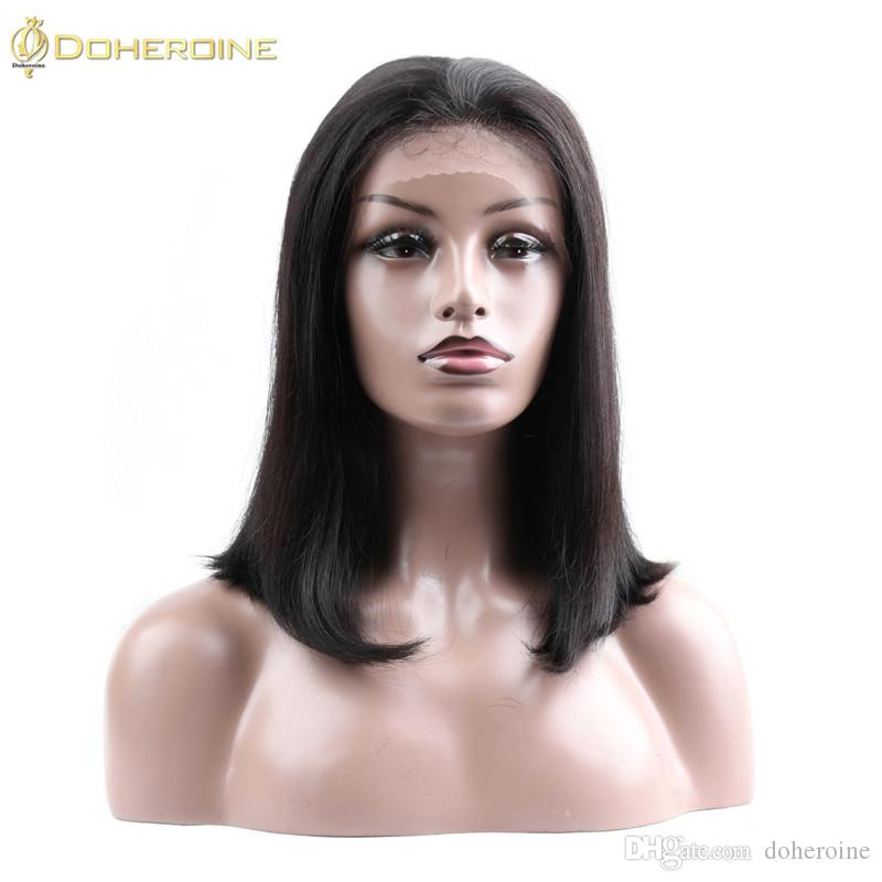 Doheroinehair Human Hair wigs With Lace Front Brazilian Straight Human Hair Wigs For Black Women Short Bob Pre Plucked Bleached Knots