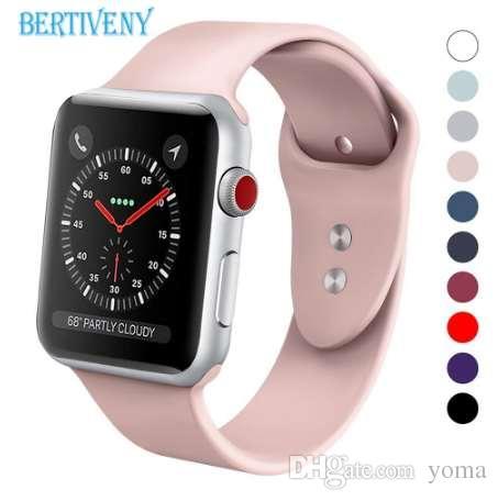 2c2d8385cc7 Compre Pulseira De Silicone Para A Apple Watch 38mm 42mm 40mm 44mm  Substituição Sport Strap Pulseira De Borracha Para A Série Iwatch 4 3 2 1  Watchband De ...