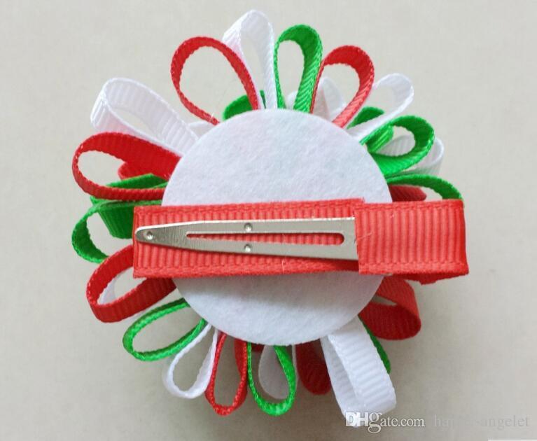 Clip Loop Archi Bambino Coda di cavallo supporto dei capelli accessori della ragazza del nastro Boutique natale archi dei capelli del fiore della clip Ties fascia Headwear HD3236