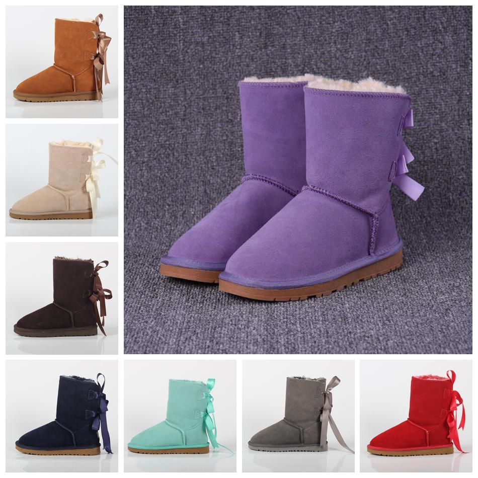 7b7d0c04cf130 Bowknot Snow Boots Women Cowhide Ties Australia Outdoor Strap Shoes Flat  Warm Shoes Mid-calf Boots  pair OOA5937 Bowknot Snow Boots Ug Snow Boots  Cowhide ...