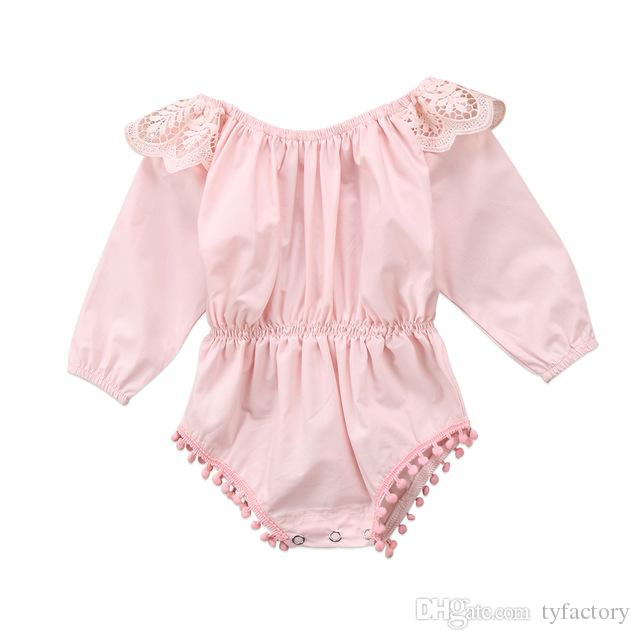 dfe2c11565d 2019 2017 Newborn Baby Girls Clothing Kids Pink Romper Long Sleeve Outfits  Autumn Spring Ruffles Rompers Jumpsuit Fashion Kid Girl Clothing 0 24M From  ...