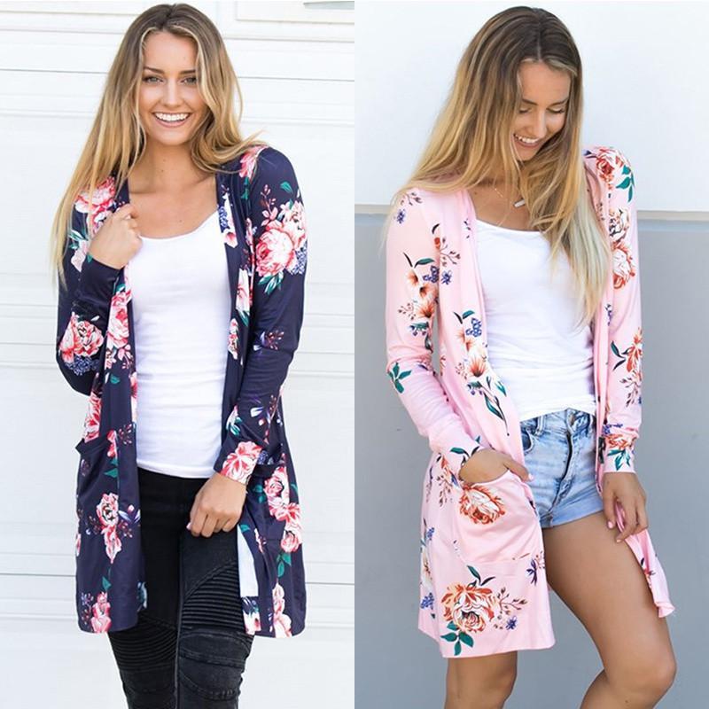 Bahar Kadınlar Çiçek Hırka ABD Avrupa Tarzı Üst Rahat Kontrast Uzun Kollu Ince Dış Giyim Coat Top Giyim Satış için
