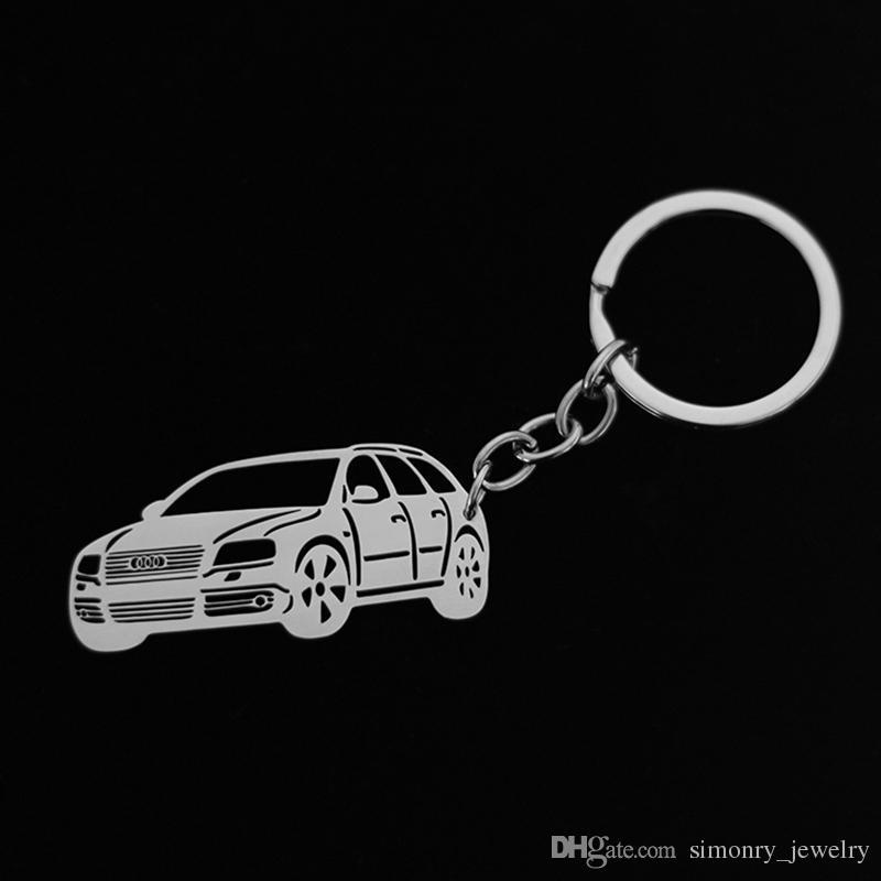 Voiture Corps Porte-clés En Acier Inoxydable Porte-clés BMW Benz Audi Jeep Citroen Voiture Porte-clés Cadeau Personnalisé Hommes Femmes Mode Bijoux En Gros