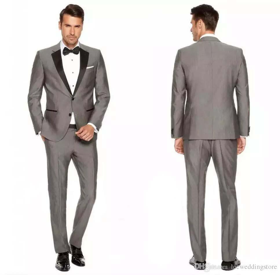 3e16cb8c 2018 Custom Grey Mens Suits Blazer Black Lapel Slim Fit Wedding Suits for  Groom Tailored Tuxedo Prom Terno Masculino (Jacket+Pants+Vest)