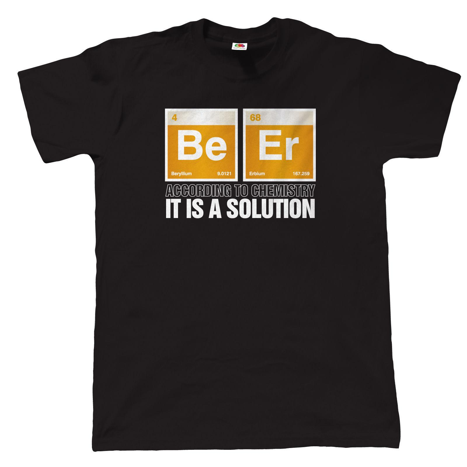 Beer It Is A Solution Mens Funny Drinking T Shirt Gift Dad Birthday Awesome Tee Shirts Prints From Thecottonsupply 1101