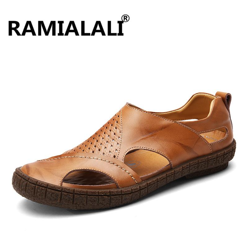 23a2742b6558 Ramialali Summer Sandals Leather Men Shoes Casual Soft Hollow ...