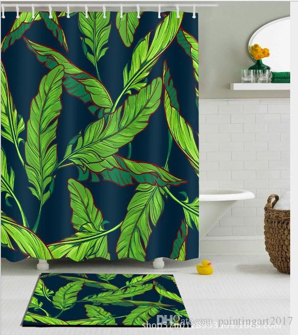 2019 Waterproof Mildewproof Polyester Shower Curtain Forest Palm Leaves Pattern Fashion Painting Jungle Of Exotic Tropic Plants Water Floor Mats From