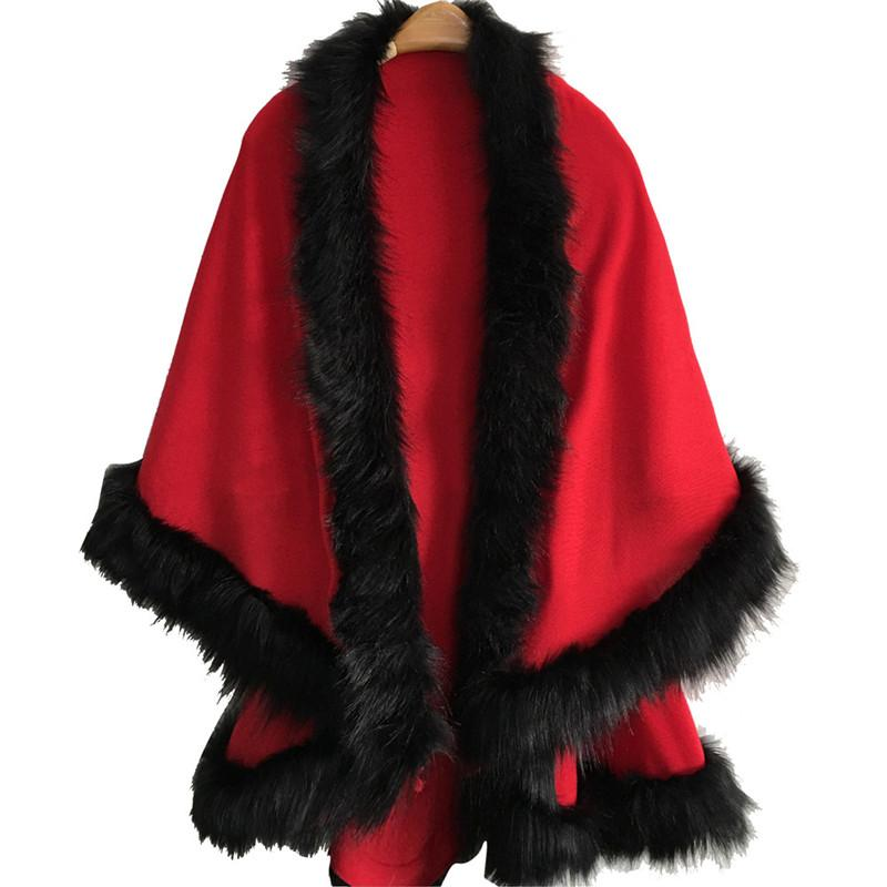 #5505 Women Spring Autumn Faux Fur Collar Poncho Cape Thin Stole Wrap Hoody Coat