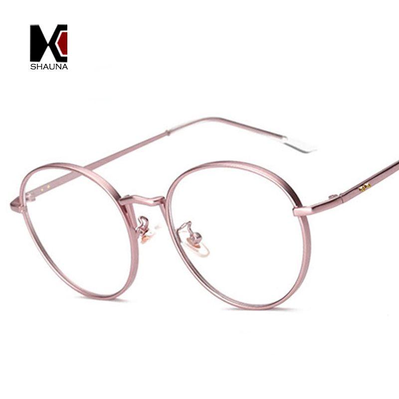 b79e21c4d7 SHAUNA Retro Metal Frame Women Round Frame Original Clear Lens Glasses  Fashion Men Golden Nails Decoration Eyewear UV400 Eyewear Fashion Frame  Women Clear ...