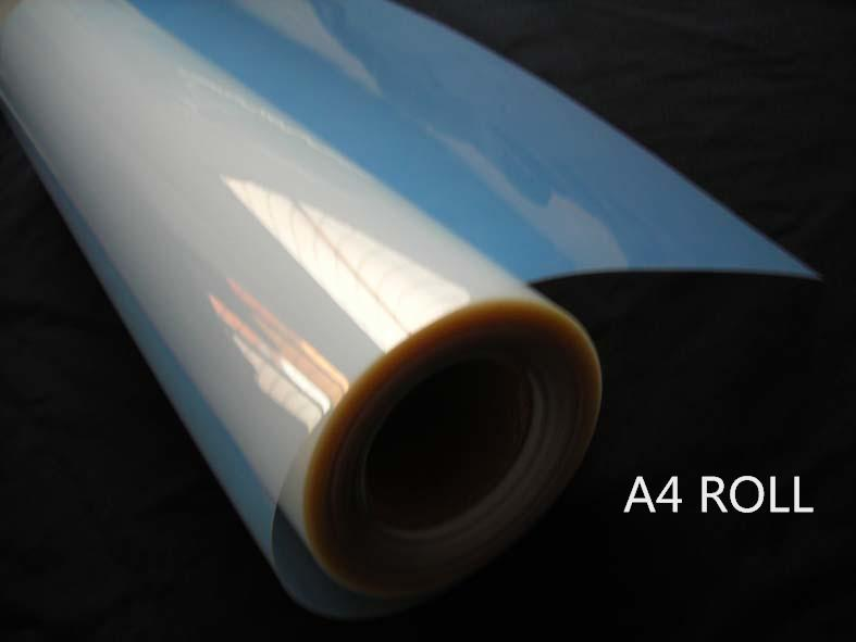 A4 size roll 0 21m wide inkjet waterproof milky PET film for dye ink printer