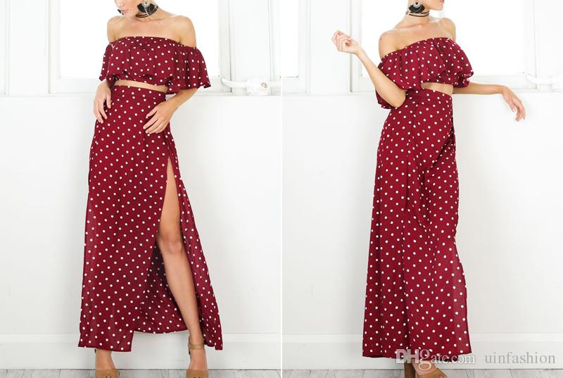 Women 2018 Casual Dresses Off Shoulder Red Vintage Dot Long Dress Summer Maxi Dress Chiffon Ruffle Sexy Beach Dresses Vestidos