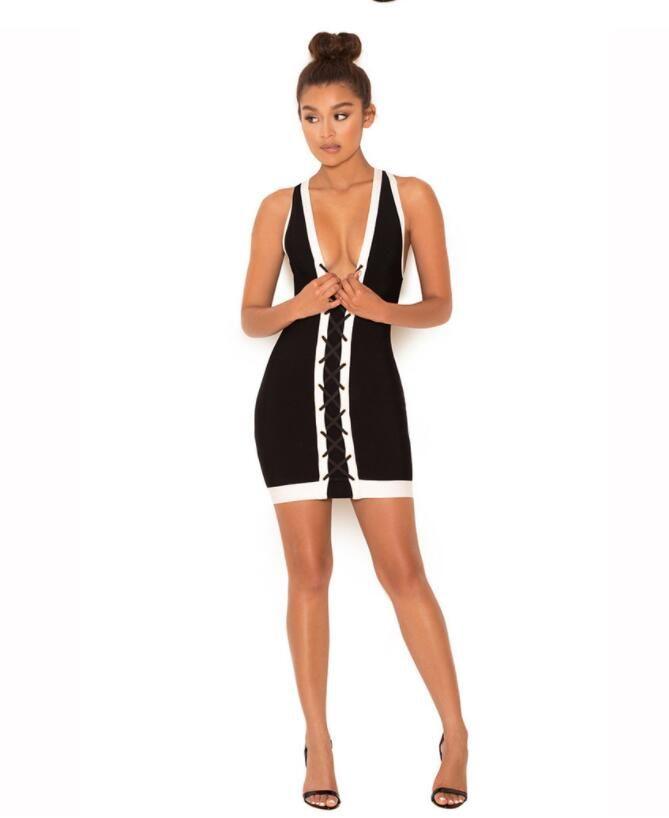 Hot 2018 Sleeveless Bandage Tight Dress Bodycon Black+White Fashion Slim Dress Sexy Mini Package Hip Dress Women Summer Casual Clothing