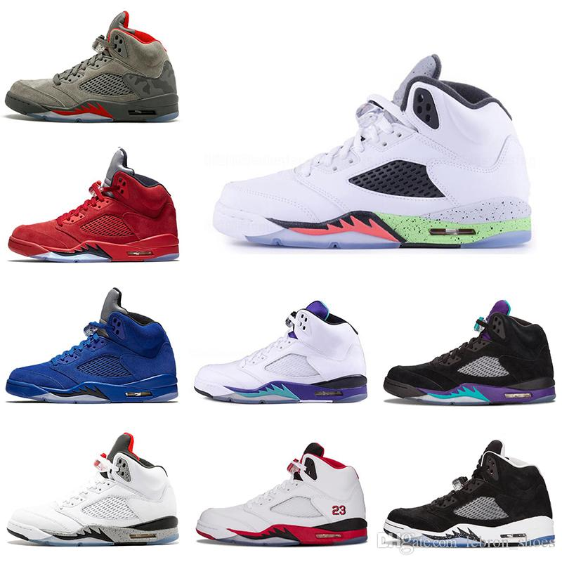 sports shoes 9af46 3756f New 5s Mens Basketball Shoes Space Jam Metallic Silver Black White Grape Blue  Suede Oreo Men Trainers Sneaker 5 Sports Shoe Size 8 13 Womens Basketball  ...