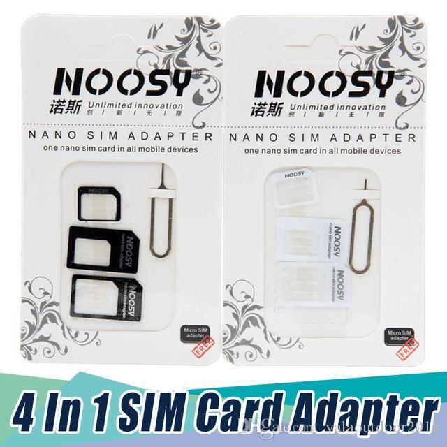 500/lot pcs 4in1 Noosy Nano Sim Card Adapter Micro Sim cards adapter  Standard SIM Card Adapter For iPhone 7