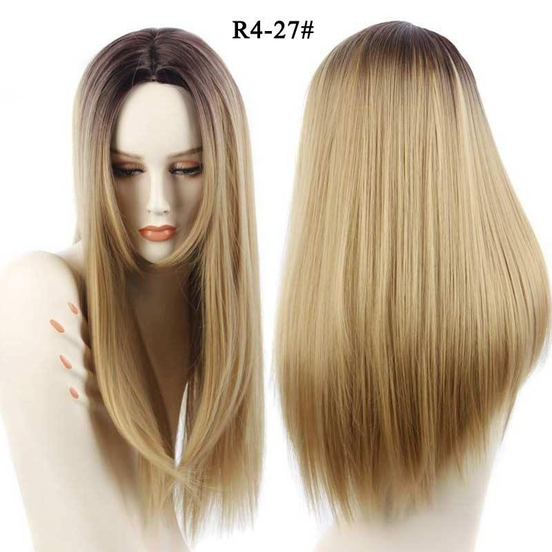 Long Ombre Grey Straight Synthetic Wigs 26 inches for Women Black Two Tone Heat Resistant Fiber Hair