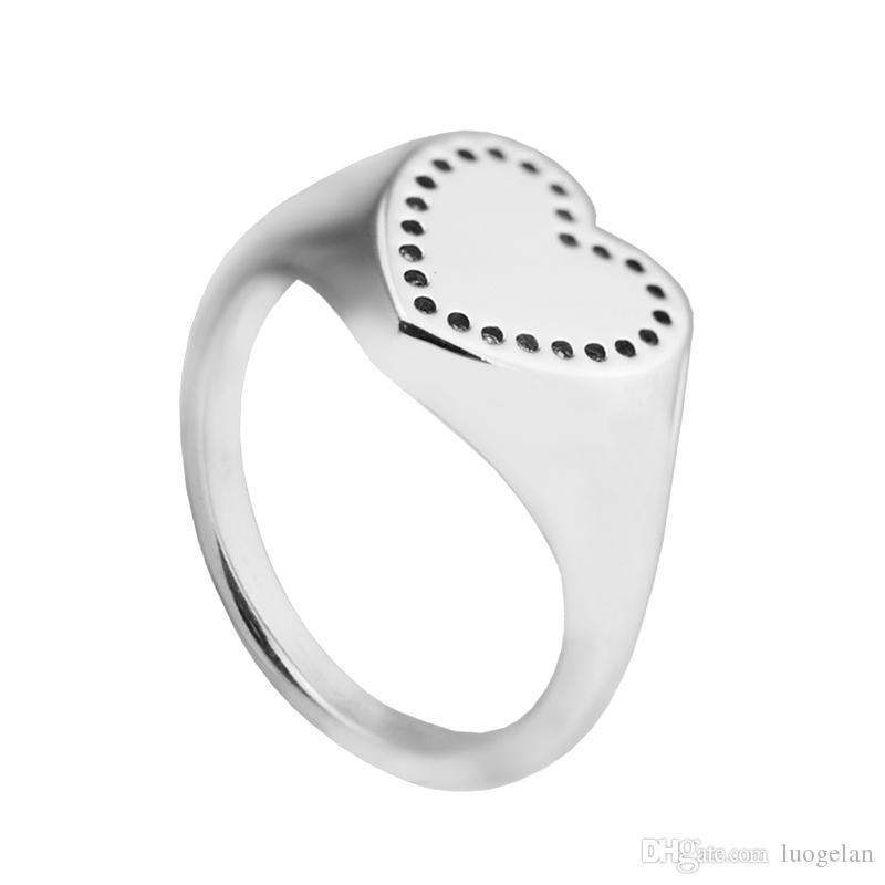 44fed55c9 Compatible With Pandora Jewelry Ring Silver Heart Signet Rings 100% 925  Sterling Silver Jewelry Wholesale DIY For Women Wedding Bands Diamond  Earrings From ...