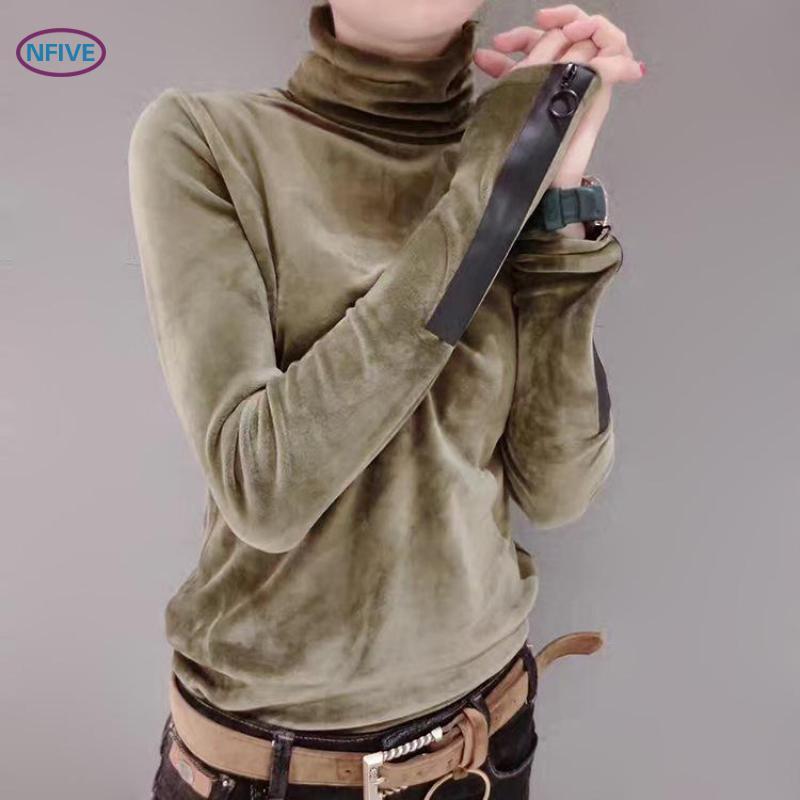 Compre Nfive Marca 2018 Mujer Suéteres De Algodón Sólido Nueva Moda  Primavera Coreana De Manga Larga Suéter Medio Cuello Alto Corta De  Terciopelo Suéter A ... cef905c9ce7c