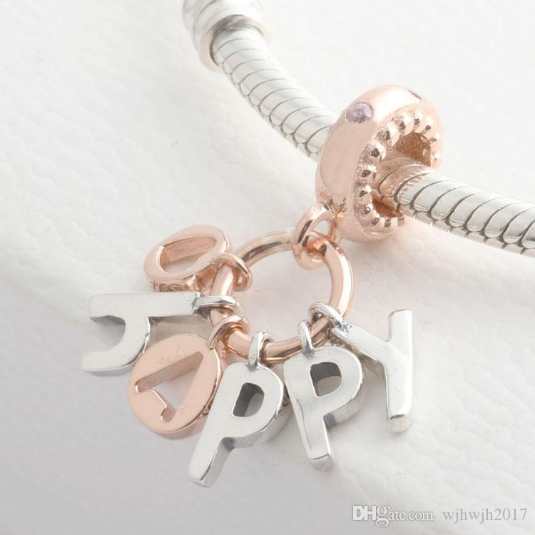New Authentic 925 Sterling Silver Beads Rose Happy Pendant Charm Fit Original Women European Charm Bracelet Bangle DIY Jewelry Accessories