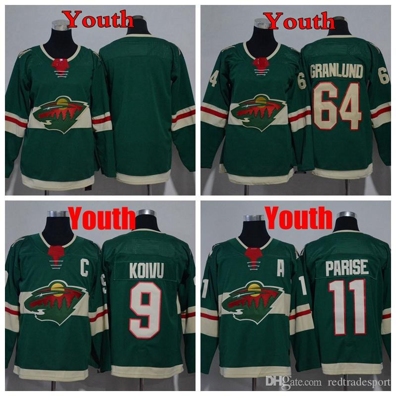 online store 23122 85042 2018 Youth Minnesota Wild 11 Zach Parise 9 Mikko Koivu 64 Mikael Granlund  Hockey Jersey KIds Hockey Jersey Boys Blank Hockey Shirts