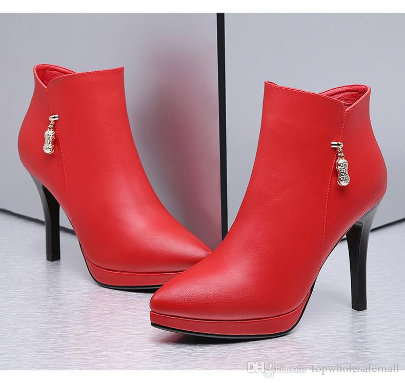 2018 High heel Leather Fashion women boots Leather Shoes black red China Brand Short Boots