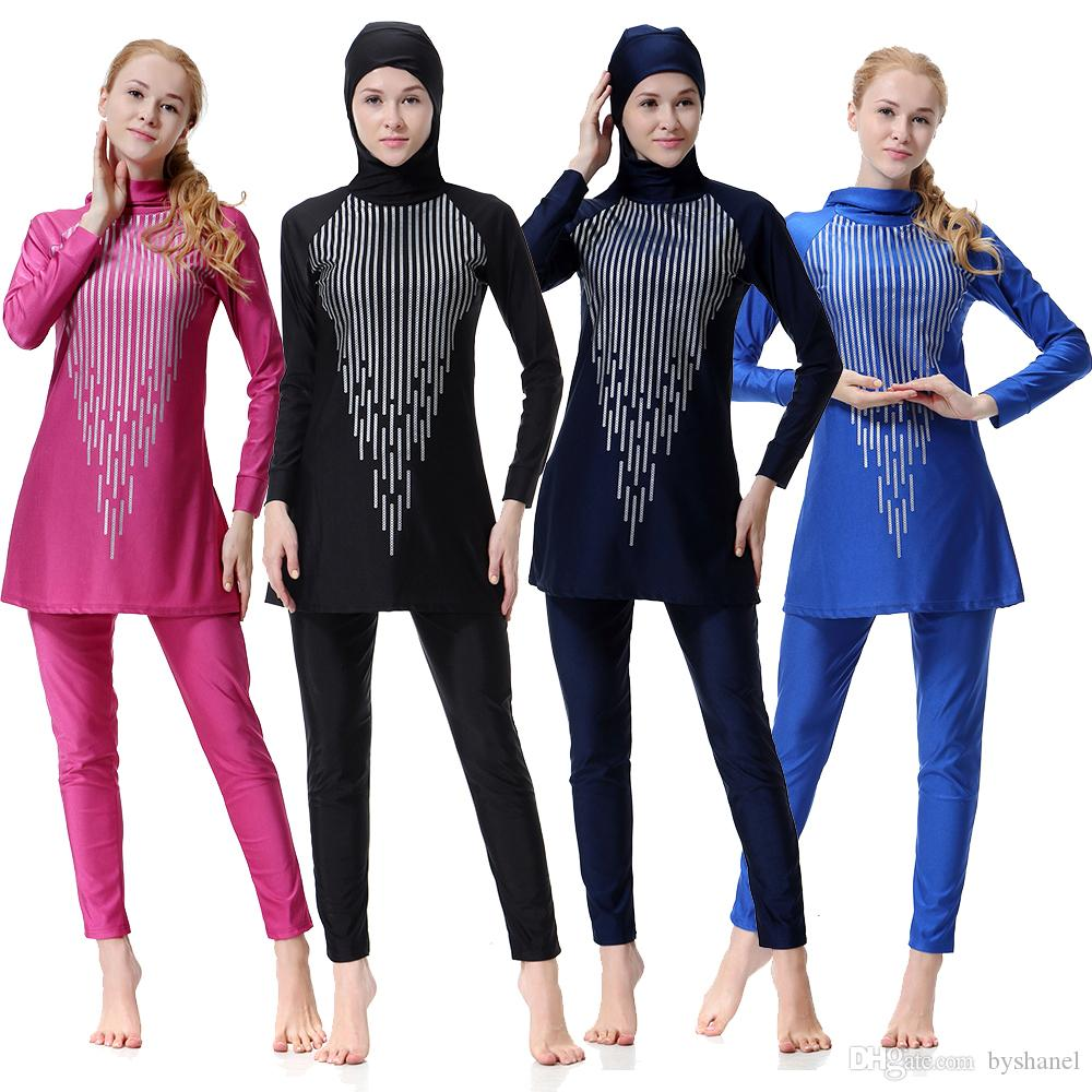 a1b448704b 2019 Swimwears Women Swimming Clothes New Muslim Ladies Long Sleeve  Swimsuit Islamic Full Cover Conservative Bathing Suits From Byshanel,  $23.12 | DHgate.