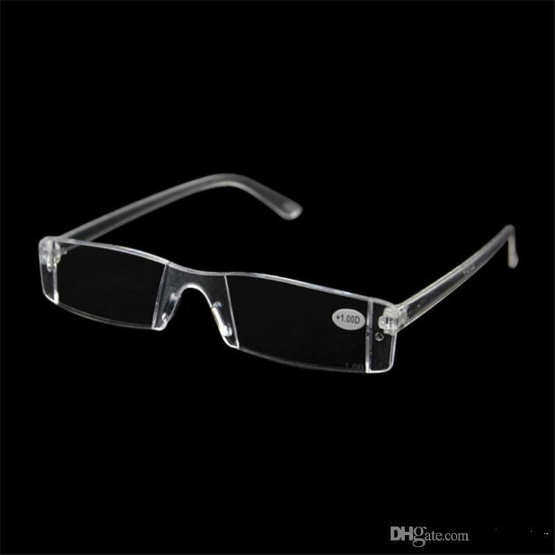 58edd827d2 Plastic Clear Rimless Eyeglasses Presbyopia White Reading Glasses  Unbreakable Women Men Transparent Reading Glasses +1.00 +4.00 Pocket Reading  Glasses ...