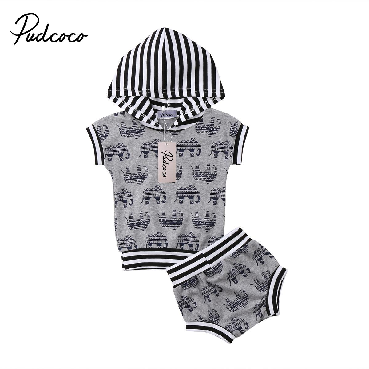 898cf156f Fashion Newborn Toddler Kids Baby Boy Girl Elephant Hoodie Hooded Tops  Shorts Outfits Clothes Set 0-24M