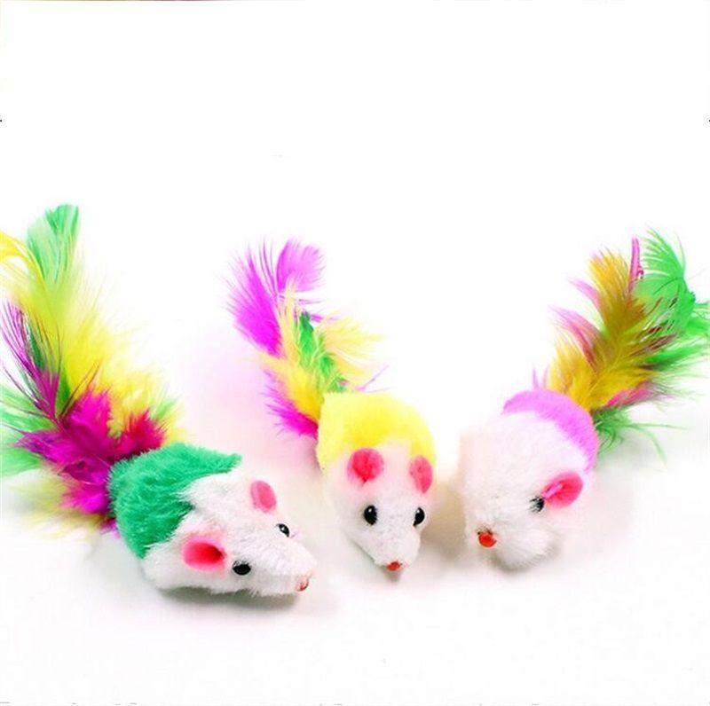 Farbige Schwanz Flush Maus Katzenspielzeug Feder Spielen Kätzchen Spielzeug Lustige Weiche Fleece Falsche Haustier Hund Spielzeug Heißer Verkauf 0 58 hz Y