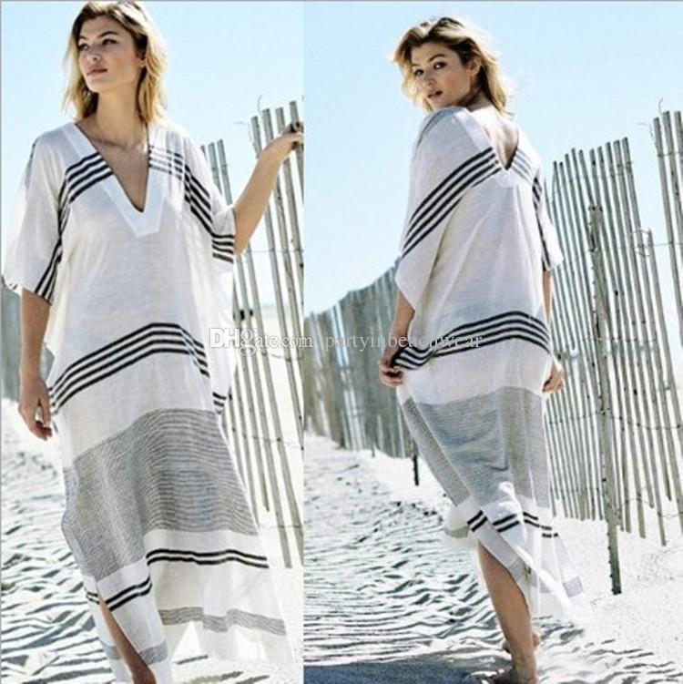 cf59b6942 2019 Beach Cover Up Kaftan Swimwear Women Dress Tunic New Rayon Striped  Loose Swimsuit Bikinis Plavky Pareo Coverups Salidas De Beachwear From ...