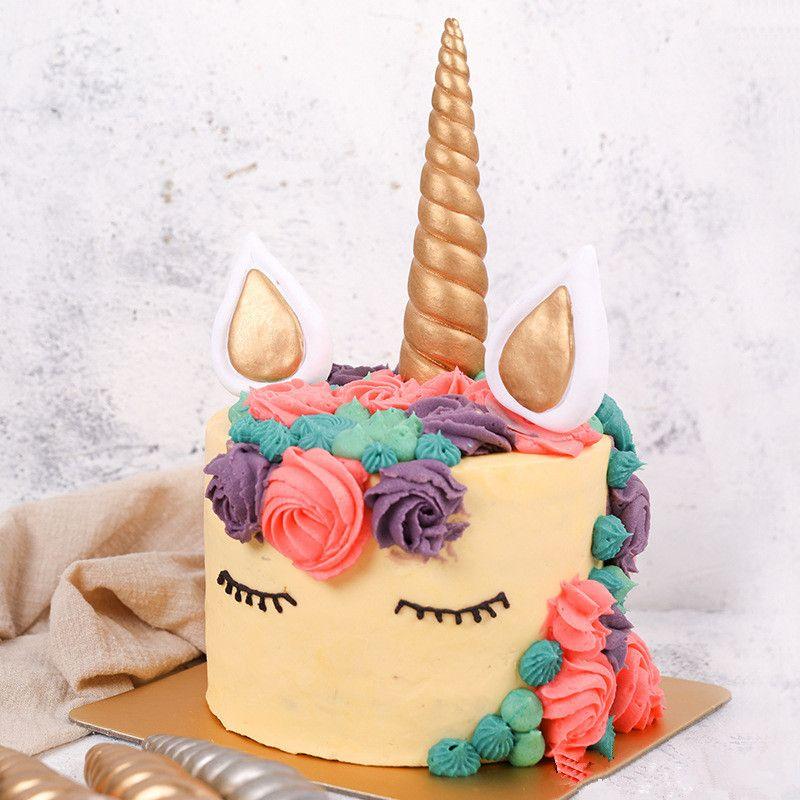 Unicorn Horn Birthday Cake Birthday Party Decorations Kids Gold